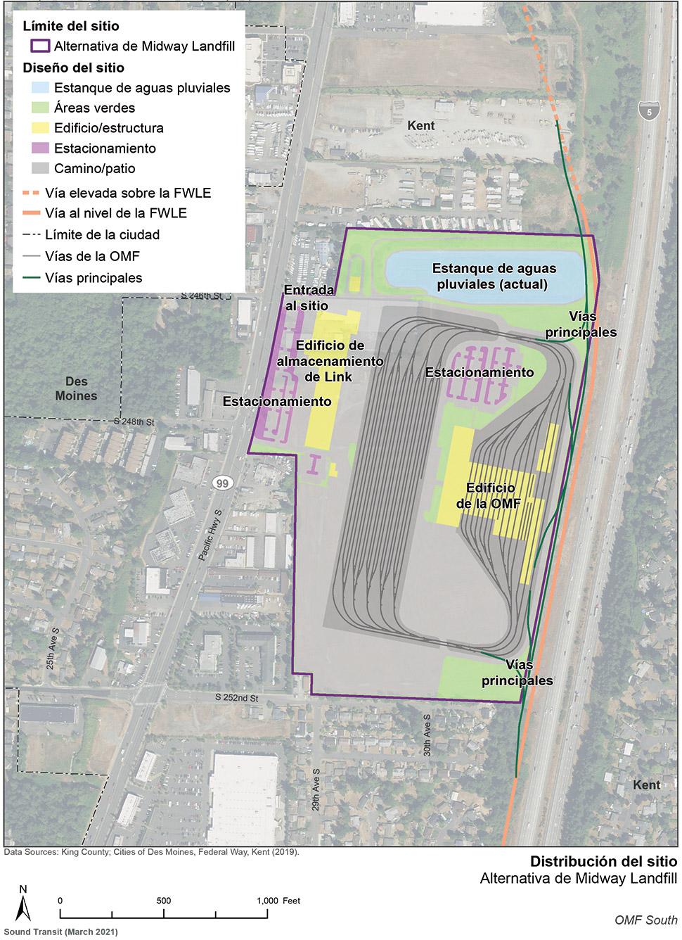 Mapa del sitio de la alternativa de Midway Landfill